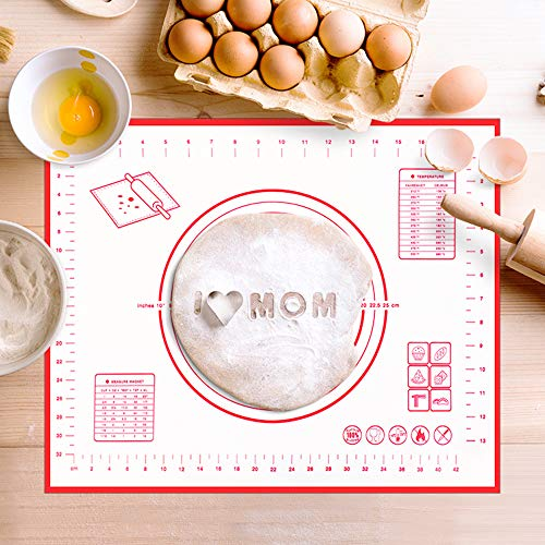 Silicone Pastry Mat Non Stick Baking Mat with Measurement- Fondant Mat, Counter Mat, Dough Rolling Mat, Oven Liner, Pie Crust Mat (20 x 16 Inch£