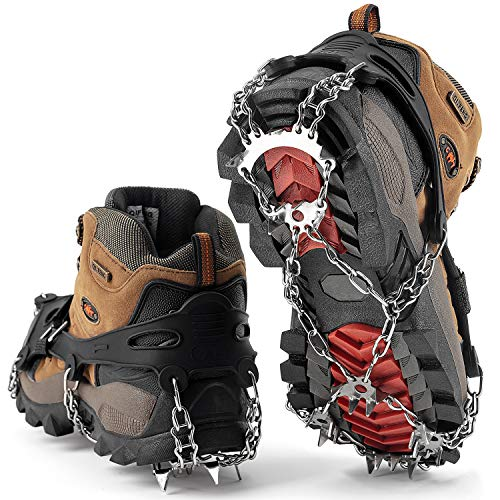 SHARKMOUTH Crampons Ice Traction Cleats, Ice Snow Grips for Boots and Shoes, Anti Slip 23 Stainless Steel Spikes, Safe Protect for Walking, Jogging, Climbing or Hiking on Snow and Ice, Black XL