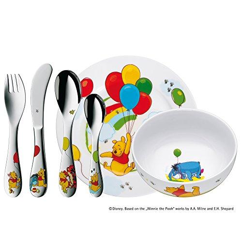 WMF Disney Winnie the Pooh - Vajilla para niños 6 piezas, incluye plato, cuenco y cubertería (tenedor, cuchillo de mesa, cuchara y cuchara pequeña) (WMF Kids infantil)
