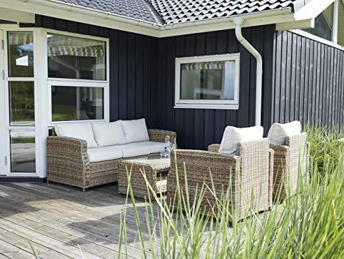 Vila Polyrattan Lounge 5 Pers, rostfreier Aluminiumrahmen, handgewobenes Rattan, Gartenmöbel: Sofa, Tisch, Sesseln, langlebige Materialien, für Garten, Balkon oder Terrasse – inkl. Polster