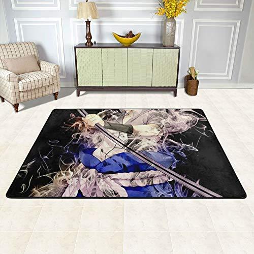 dgdgdg NARUTO Uchiha Sasuke Alfombra adecuada para sala de estar, dormitorio, zona infantil, suave y cómoda, decoración de casa de arte, 91,4 x 60,9 cm