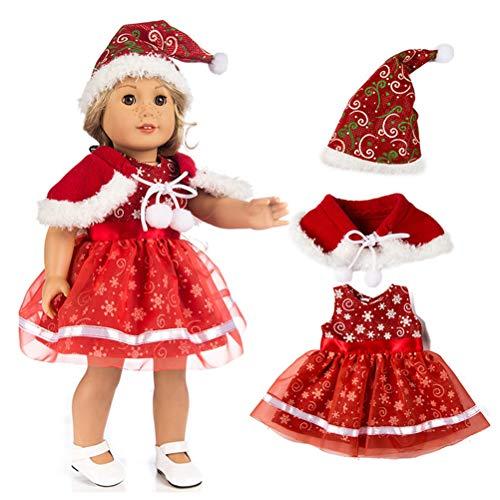 Roupas de boneca, roupas de Natal para bonecas, vestido de festa vermelho feito à mão para bonecas American Girl de 45 cm