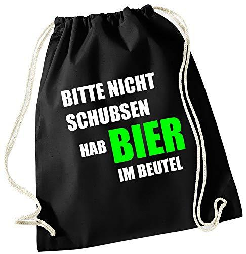 Coole-Fun-T-Shirts Bitte nicht schubsen ich habe Bier im Beutel ! Turnbeutel Schwarz