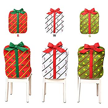 Orgrimmar 3PCS Christmas Chair Back Cover Bowknot Gift Package Design Christmas Decoration Chair Cover for Restaurant Hotel Home Kitchen Dining Room