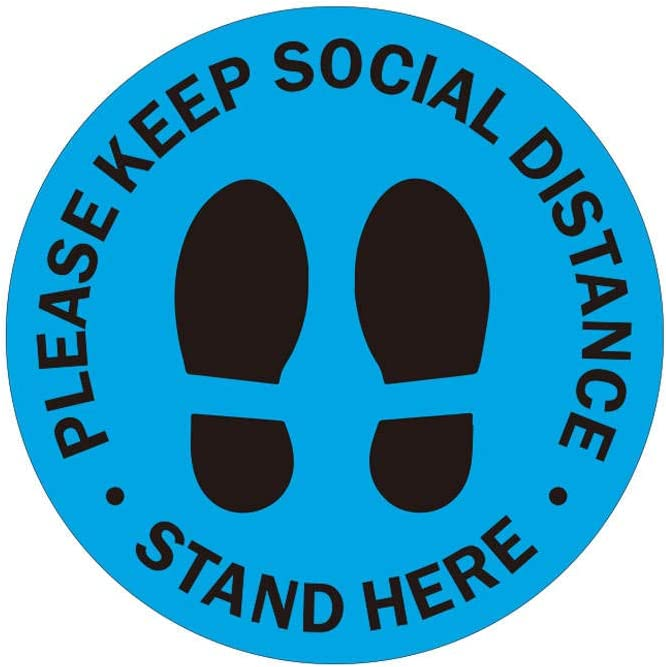 Social Distancing Floor Decal Stickers Pack Dia 10 Selling and selling Max 77% OFF Blue12-Inch