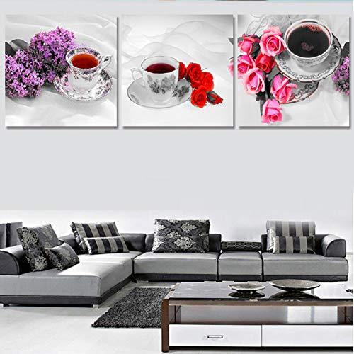KDSFHLL 3 dekorative Gemälde Hd Gedruckt Wohnzimmer 3 Panel Kaffeetassen Malerei Wandkunst Modulare Poster Home Dekoration Leinwand Bilder (kein Rahmen)