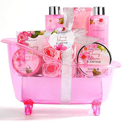 Geschenkset Frauen,Body&Earth 8pcs Bad Set mit Kirschblüten und Jasmin Duft ,Inklusive Schaumbad, Duschgel, Körper und Handlotion, Badesalz und Mehr, Beauty Set für Frauen Geschenk