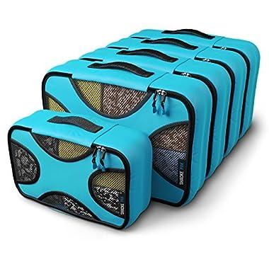 Shacke Pak - 5 Set Medium/Small Packing Cubes - Travel Organizers (Aqua Teal)