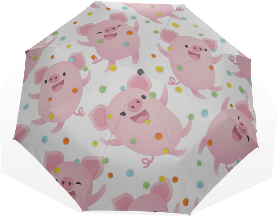 Compact Beauty Tampa Mall products Outdoor Umbrella Cute Pig Pink Pet Ar Fold 3 Toys Animal