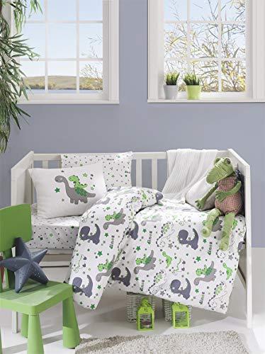 BEKATA dekbedovertrekset voor baby's en peuters dekbedovertrek + kussensloop + plat beddengoed, totaal vier of vijf stuks (comfortabel is optioneel) anti-allergie Dino Met Comforter 5 Stks