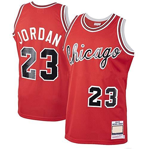 Camisetas De Hombre, NBA Chicago Bulls # 23 Michael Jordan Bulls Camisetas De Jugadores De Baloncesto Retro, Camisetas Sin Mangas De Malla Transpirable,Rojo,L