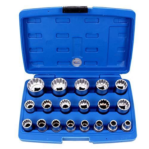 CCLIFE Juego de llaves de vaso vasos insertables Gear Lock 1/2' 8-32mm,Pulgadas...