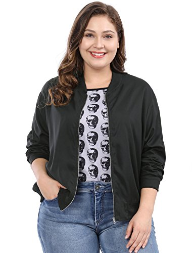 Allegra K Damen Plus Size Langarm Reißverschluss Panel Bomberjacke Jacke Schwarz 3XL