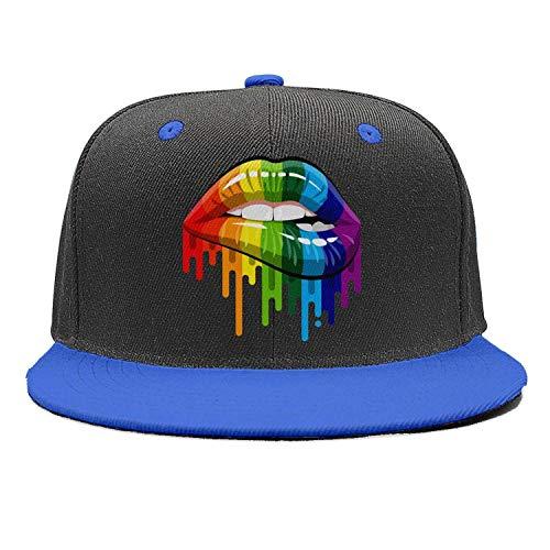 Unisex Mens Gay Homosexual Lesbian Rainbow Lips Pride Blue Cute Plain Snapback Cap Hats