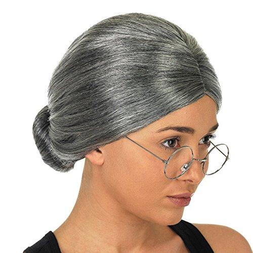 Wigs Vovotrade® Vieille dame grand-mère granny gris perruque chignon cheveux grande mère costume déguisé (Multicolor)