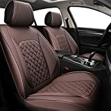 SYNOME 2pcs Car Seat Covers Full Set with Waterproof Leather,Airbag Compatible Automotive Vehicle Cushion Cover Universal fit for Most Cars (Brown)