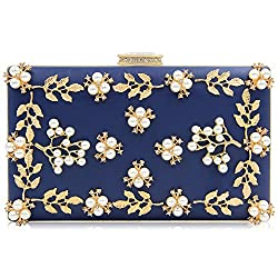 Navy Blue Clutche With Pearls And Rhinestones Purse