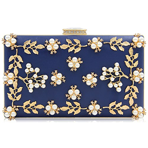 Milisente Women Clutches Pearls Evening Bag Clutch Purse Bags (Navy Blue)