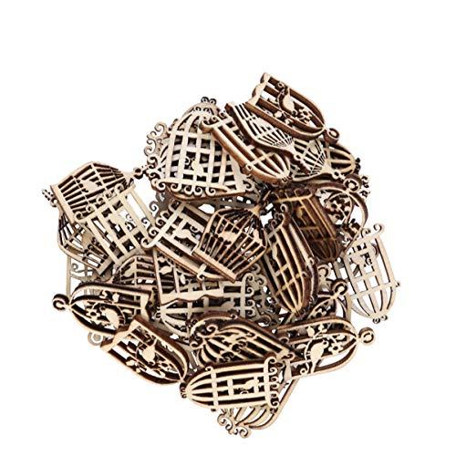 SUPVOX 50 piezas de rodajas de madera en forma de jaula de pájaro adornos colgantes adornos decoración decoración de fiesta de navidad para hacer manualidades de bricolaje