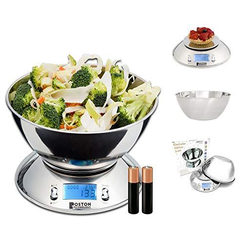 Balance de cuisine numérique avec bol amovible en acier inoxydable, écran LCD rétroéclairé pour une lecture facile, minuterie et capteur de température Capacité 5 kg (1 g) / 11 lb (0,1 oz)
