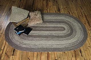 IHF Home Decor Oval Jute Braided Rug | Ashwood Design | Farmhouse Flooring Carpet | Grey, Tan Hand Woven Natural Fiber Doo...