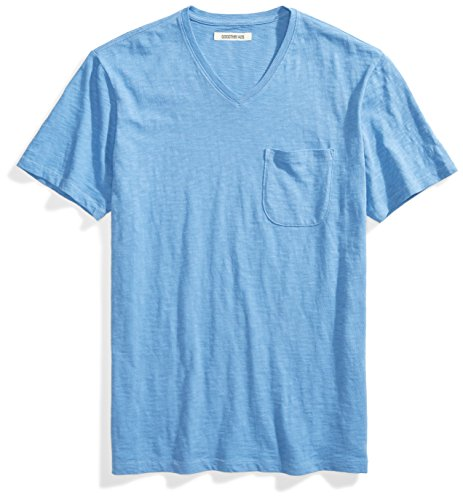 Amazon Brand - Goodthreads Men's Lightweight Slub V-Neck Pocket T-Shirt, Moonlight Blue/Blue, X-Large