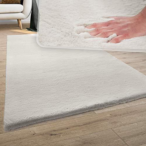 Teppich Wohnzimmer Kunstfell Plüsch Hochflor Shaggy Super Soft Waschbar In Creme, Grösse:60x90 cm