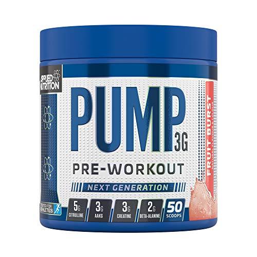 Applied Nutrition Pump 3G Pre Workout Energy Drink Focus & Performance, Creatine Monohydrate, AAKG, Citrulline, Beta Alanine, Caffeine Vitamin B Gold Complex, 375g Standard, 50 Servings (Fruit Burst)