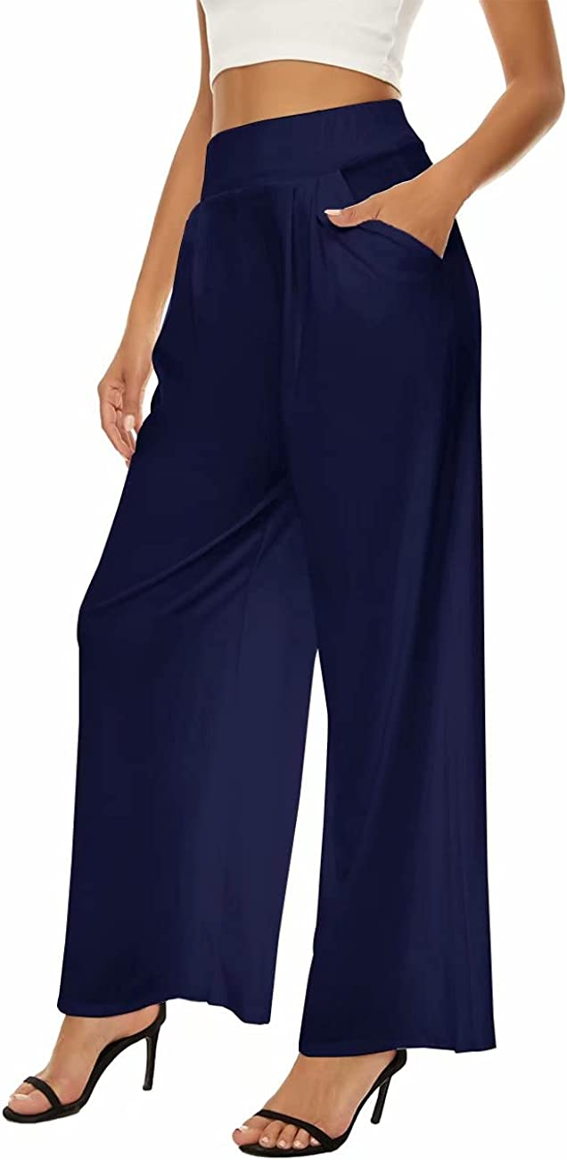 A ADILACA Women's Wide Leg Palazzo Pants, Elastic Waistband Casual Loose Trouser, High Waisted Stretchy Lounge Long Pants