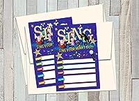 12枚の映画「S.I.N.G」バースデー招待状(12枚の5x7インチのカード、12枚のマッチする白い封筒)