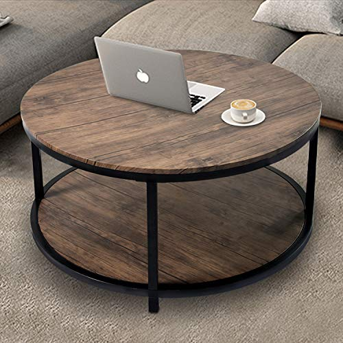 NSdirect 36 inches Round Coffee Table, Rustic Wooden Surface Top & Sturdy Metal Legs Industrial Sofa Table for Living Room Modern Design Home Furniture with Storage Open Shelf (Light Walunt)