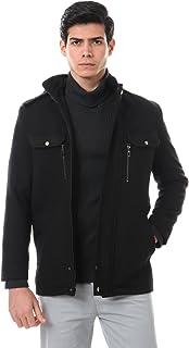 معطف صوف برقبة بغطاء قابل للتعديل