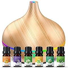 Idea Regalo - 500ML Diffusore di Oli Essenziali, Diffusore con 6 * 10ml Set di Oli Essenziali, Diffusore di Aromi con 14 colori LED, 23dB Diffusore Ambiente Fino a 15 Ore, Diffusore di Oli Essenziali per Yoga