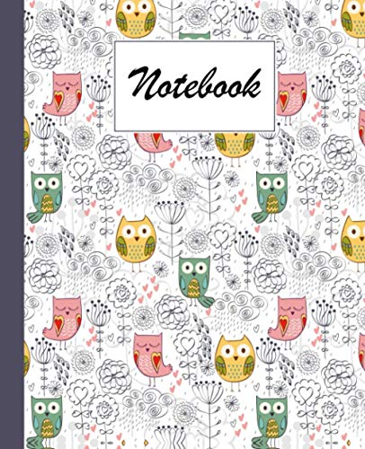 Notebook: Owl and Flowers Composition Notebook - College Ruled 120 Pages - Large 7.5