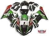 VITCIK (Kit Carenatura Compatibile con ZX6R ZX-6R Ninja 636 2005 2006 ZX6R Ninja 636 05 06) stampaggio a iniezione per moto plastica in ABS telaio(Verde & Nero) A056