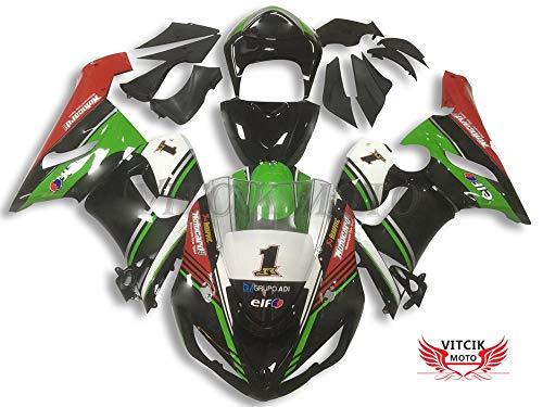VITCIK (Kit de Carenado para ZX6R ZX-6R Ninja 636 2005 2006 ZX6R Ninja 636 05 06) Accesorios de Repuesto para Bastidor y carrocería con(Verde & Negro) A056