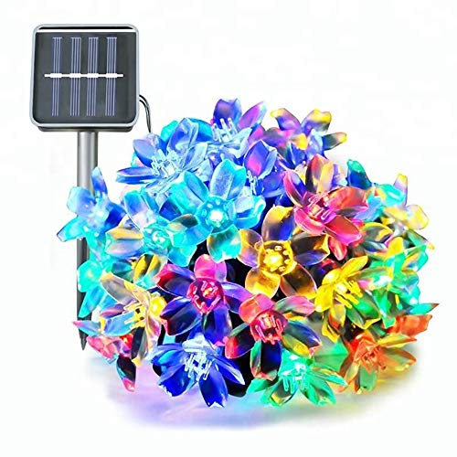 JIANGPENG Outdoor Solar Powered String Lights with 100 LED RGB Multicolor Flower Lights forWaterproof Outdoor Garden Flower String Lights for Patio, Yard, Lawn, Party Decorations