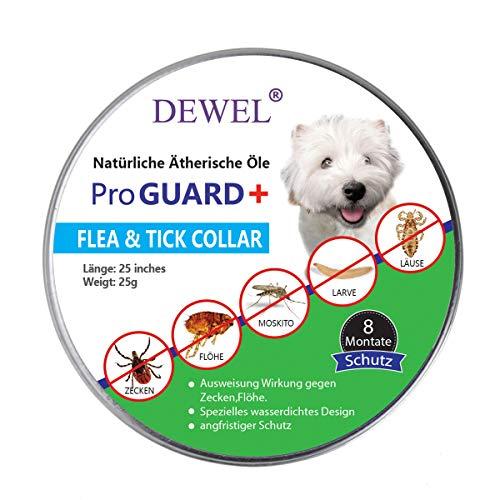 DEWEL Verstellbar Zecken Halsband für Hunde und Katze, 63.5cm Floh Zecken Kragen Floh-und Zecken Prävention Halsbänder Wasserdicht Hund Flohhalsband 8 Monate Schutz