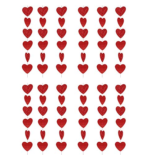 Red Glitter Heart Garland Christmas Decoration Anniversary Hanging String for Party Love Wedding 12pcs