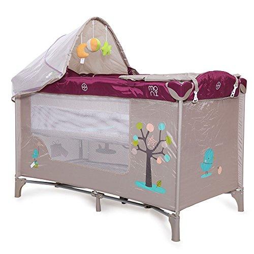 cama de viaje, corralito colchón Friend, cambiador, mosquitero, arco de juego, color:púrpura