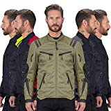 Viking Cycle Ironborn Protective Textile Motorcycle Jacket for Men - Waterproof, Breathable, CE Approved Armor for Bikers (Black, Large)