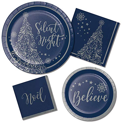 Religious Christmas Paper Plates and Napkins Set - Silent Night Theme - 64 Total Pieces - Beautiful, Durable and Great Value!