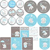 Bundle - 5 Types of Blue Elephant Theme Stickers Baby Shower DIY Favors for Boy