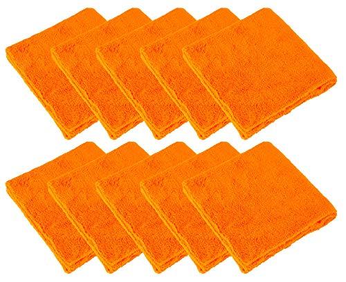 PARTS4CARE 10x Mikrofasertuch Poliertuch Microfasertuch orange 500GSM 40 x 40 cm