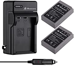 Powerextra 2 Pack Battery & Charger Compatible for Olympus BLS-5, BLS-50, PS-BLS5 and Olympus OM-D E-M10, Pen E-PL2, E-PL5, E-PL6, E-PL7, E-PM2, Stylus 1