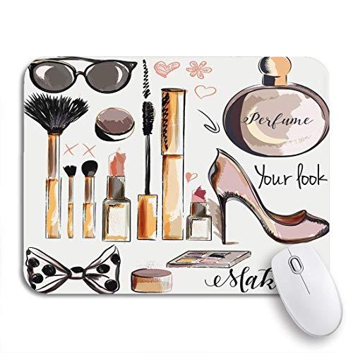 Mausemat Make-Up Zubehör Lippenstift Wimperntusche Parfüm Pinsel Gedruckt Mousepad 2 Größen...