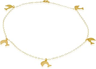 14K Solid Yellow Gold Diamond Cut Charm Anchor Anklet - 10
