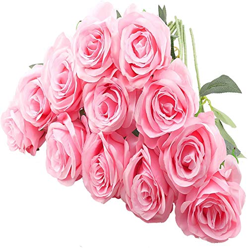 YYHMKB 12 Piezas de Rosas Artificiales, Flores de Seda de Tallo Largo único de 19,7 Pulgadas Ramo de Rosas realistas para la decoración de la Oficina del Banquete de Boda en casa, Rosa
