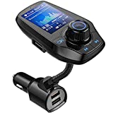 Guanda Bluetooth FM Transmitter for Car, Bluetooth Car Adapter, 4-in-1 Car MP3 Player with 1.8 Inch Color Display, AUX Input/Output, 3 Port USB, S Handsfree Call, SD/TF Card, USB Disk,QC3.0,5 EQ Modes