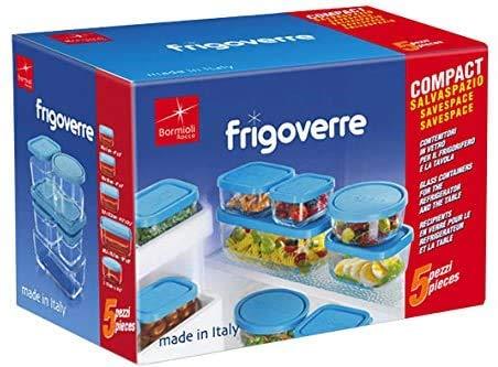 Almacenamiento de Alimentos Contenedor Set de 5piezas de vidrio con tapa hermética hecha en Italia. Por Bormioli Rocco. Perfecto...